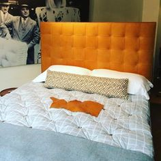 Check it out! Here's our beautiful tan leather Winston bed in the window of our London Wigmore Street showroom! #luxury #leather #sumptuous #bed #showroom