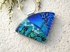 Emerald Silver Blue Necklace, Dichroic Necklace, Fused Glass Jewelry, Dichroic Fused Glass Pendant, Wedge Statement Necklace 063015p107 by ccvalenzo on Etsy
