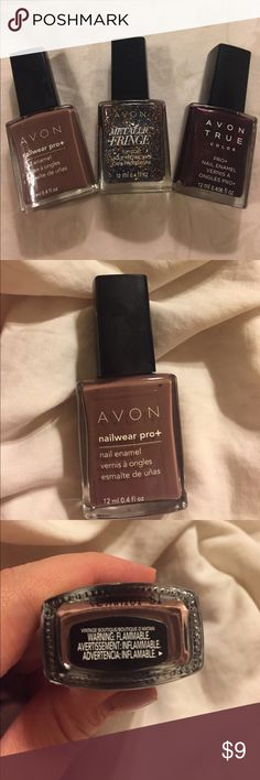 Avon Nail Polish 12ml each Get ready for fall with these beautiful fall nail polish colors and glitter. Avon nailwear pro in Vintage Boutique is a creamy brown color. Avon Metallic Fringe adds long gold glitter pierces as a fun top coat. Avon True Color in Night Violet has a shimmery dark plum color. Avon Other
