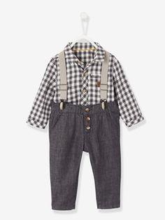 Conjunto para bebé niño con camisa de cuadros + pantalón de tirantes -  vertbaudet enfant c5a2422933af