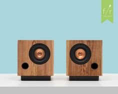 Fern and Roby bookshelf speakers made from reclaimed pine. SO. MUCH. WANT. $875