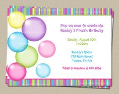 Bubble stickers blowing bubbles birthday party summer fun pool bubble birthday party invitation set of 10 by theinviteladyshop filmwisefo