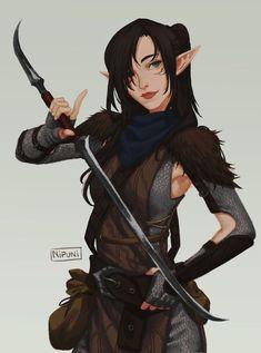 Half elf rogue Dungeons And Dragons fantasy art Elf Characters, Dungeons And Dragons Characters, Fantasy Characters, Ranger Rpg, Elf Ranger, Female Character Design, Character Art, Character Ideas, Fantasy Warrior