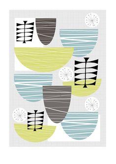 A Retro Inspired 'Bowls' - A3 Kitchen Print, Wall Art £12.00