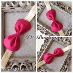 Cute bow headband made out of felt.Comes on top of soft elastic.Available in any size £1.50