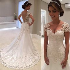 Vestido De Noiva White Backless Lace Mermaid Wedding Dresses 2018 V-Neck Short Sleeve Wedding Gown Bride Dress Robe de mariage Wedding Gowns With Sleeves, Wedding Dresses 2018, Bridal Dresses, Dresses Uk, Ugly Dresses, Short Dresses, Bridesmaid Dresses, Prom Dresses, Wedding Dressses
