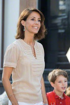 Princess Marie of Denmark attends Prince Henrik Carl's first day of school in Hellerup, Denmark on August 14, 2015