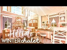 BLOXBURG| Winter Hillside Chalet (Part Two) | House Build - YouTube Two Story House Design, Tiny House Layout, House Layout Plans, House Layouts, Modern Family House, Family House Plans, Home Building Design, Building A House, Bedroom Decor For Teen Girls