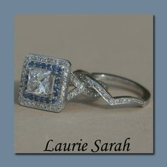 Diamond Engagement Ring with Sapphire & Diamond Double Halo Wedding Set