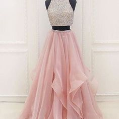 Pink chiffon tiered two pieces sequins A-line beaded long evening dresses Evening Dress Two Piece, Evening Dress Long, A-Line Evening Dress, Pink Evening Dress, Evening Dress Chiffon Evening Dresses Lavender Prom Dresses, Prom Dresses Long Pink, Junior Prom Dresses, Prom Dresses For Teens, Elegant Prom Dresses, Sweet 16 Dresses, Homecoming Dresses, Pink Dress, Cute Dresses
