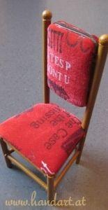 Sessel für Barbie Puppen aus Papierrollen, Karton, Vlies und Stoff
