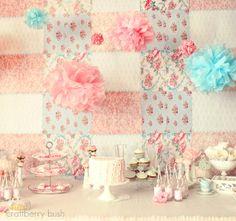 Craftberry Bush: A shabby chic princess tea party... i love this backdrop