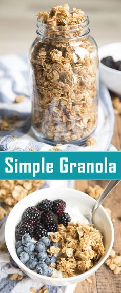 This simple granola recipe is the perfect base recipe for a delicious granola. G… This simple granola recipe is the perfect base recipe for a delicious granola. Great on its own, or with nuts or dried fruit mixed in! Enjoy with yogurt, milk, or plain! Muesli, Easy Granola Recipe, Homemade Granola Recipes, Granola Cereal, Vegan Granola, Yogurt And Granola, Cereal Recipes, Base Recipe, Recipe Recipe