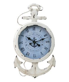 Clock for office. [Bring a touch of nautical-inspired style to your decor with this charming wood and metal wall clock, showcasing an anchor design and Roman numeral dial. Nautical Clocks, Nautical Home, Nautical Anchor, Nautical Style, Nautical Interior, Navy Anchor, Nautical Jewelry, Vintage Nautical, Wood Home Decor
