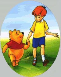 Pooh and Christopher Robin holding hands. Boys are never too big to hold hands :)