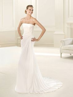 Draped Strapless A-line Wedding Dress with Lace-up Back