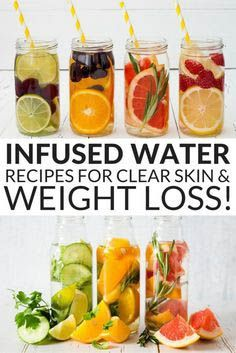 Make a few of these infused detox water recipes and you can begin losing weight and getting clearer skin right away! Oranges, lemons, strawberries and kiwis are just a few delicious fruits that are infused.