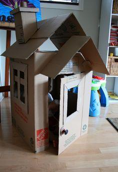 Tutorial to make this cute cardboard box playhouse.