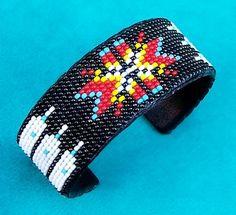 """Cherokee Star"" Native American Indian Beaded Cuff Bracelet | eBay $24.17 + Shipping $17.49"
