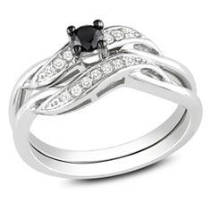 1/4 CT. T.W. Enhanced Black and White Diamond Sash Bridal Set in Sterling Silver...one of my favorites   Pretty sure that this is the one that I want.