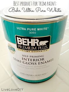 Best bright white for trim, no hints of any other color Behr Ultra Pure White