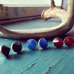 New RockLove Cone Studs in Onyx, Blue Agate, and Carnelian.