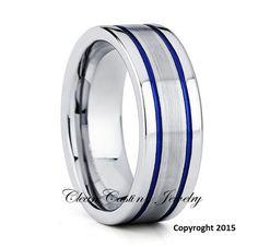 Blue Tungsten Wedding Band,Tungsten Wedding Ring,Blue Tungsten Ring,Anniversary Ring,Engagement Band,Comfort Fit,His,Hers,Satin Finish,8mm