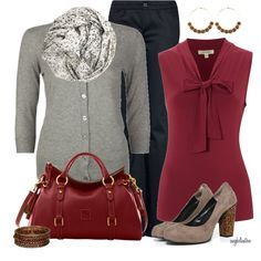 Dark Red Pop of Color by angkclaxton on Polyvore