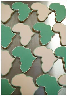 I have been wanting an african cookie cutter so bad lately! These would be perfect to make for a fundraising bake sale, or for adoption baby shower! JUST BOUGHT OURS :) Adoption Baby Shower, African Theme, Reception Food, Safari Theme, Holiday Themes, Cookie Designs, Bake Sale, Yummy Treats, Wedding Favors