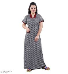 Checkout this latest Nightdress Product Name: *Comfy Designer Women's Cotton Nightdress* Fabric: Cotton Sleeves: Short Sleeves Are Included Size:  Up To 36 in To 44 in (Free Size) Length: Up To 50 in  Type: Stitched Description: It Has 1 Piece Of  Women's Nightdress Work: Printed Country of Origin: India Easy Returns Available In Case Of Any Issue   Catalog Rating: ★4 (2751)  Catalog Name: RnP Trendy Designer Women's Cotton Nightdress Vol 1 CatalogID_324870 C76-SC1044 Code: 573-2424447-4311