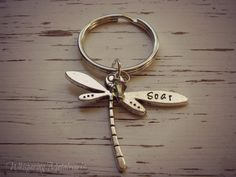 SOAR dragonfly metal stamped key chain - pewter- you choose Swarovski crystal color - green