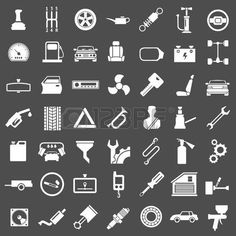 Set icons of auto, car parts, repair and service isolated on grey photo