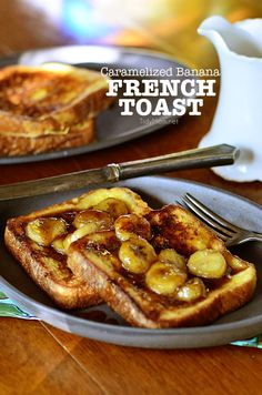 Caramel Banana French Toast Decadent french toast with home made caramel sauce and bananas, an easy to make gourmet breakfast you can make at home. Caramelized Banana French Toast recipe at Brunch Recipes, Healthy Dinner Recipes, Breakfast Recipes, Cooking Recipes, Breakfast Ideas, Breakfast Appetizers, Muffin Recipes, Healthy Foods, Gourmet Breakfast
