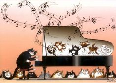 Claude-Henri Saunier, illustrator, designer, calligrapher, addresses issues with humor and poetry in different techniques. Art Carte, Cats Musical, Music Images, Music Humor, Cat Drawing, Pictures To Paint, Crazy Cats, Cat Art, Cats And Kittens
