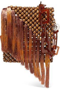 Rosantica - Eddie tasseled beaded shoulder bag - Women's style: Patterns of sustainability Beaded Clutch, Beaded Purses, Beaded Bags, Seed Bead Tutorials, Beading Tutorials, Pink Shoulder Bags, Silk Organza, Wooden Beads, Seed Beads