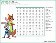 zootopia printable coloring pages - - Yahoo Image Search Results Fairy Tale Activities, Disney Activities, Road Trip Activities, Color Activities, Disney Word Search, Word Search Games, Zootopia Coloring Pages, Zootopia Movie, Word Games For Kids