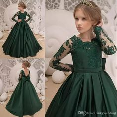 Dark Green Satin Girls Pageant Dresses Big Bow Back Lace Applique Jewel Neck Lon. Modest Bridesmaid Dresses, Girls Pageant Dresses, Dresses Kids Girl, Wedding Dresses, Lace Weddings, Bridesmaid Ideas, Wedding Bridesmaids, Trendy Dresses, Nice Dresses