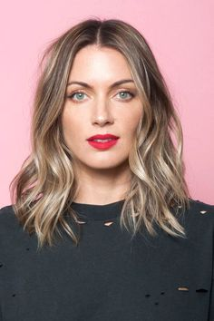 middle part short layers medium length - Google Search
