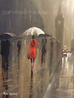 PETE RUMNEY FINE ART BUY ORIGINAL ACRYLIC OIL PAINTING GIRL IN LONDON RED COAT HAND PAINTED BY BRITISH ARTIST IN THE UK - ORIGINAL ART