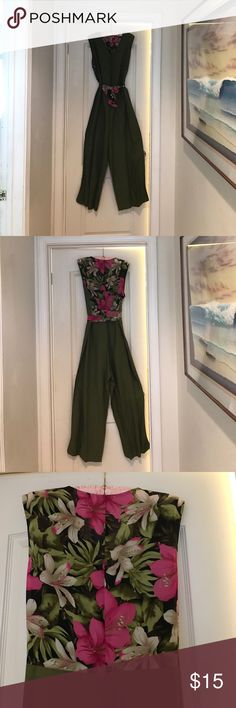 Nefertiti Collection Palazzo One Piece Pant Suite! Simply Chic and Pretty, Marsh Green Linen Palazzo Pant Suit with see through Exotic Hot Pink and Tan Lilly Flowers and Green Leafs. It has floral tie at the waist and the pants have big bell bottoms. It's never been worn and it needs pressing. Neffertiti Collection Other