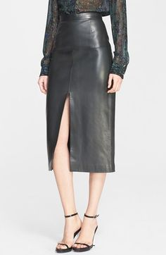 Jason+Wu+Front+Slit+Lambskin+Leather+Skirt+available+at+#Nordstrom