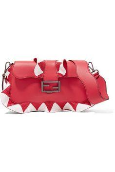 FENDI Baguette bead-embellished ruffled leather shoulder bag