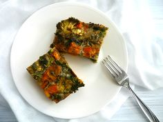 Sweet Potato & Broccoli Frittata |Nourish Everyday | Easy, healthy and tasty, this dish is packed with protein and a rainbow of healthy veggies!