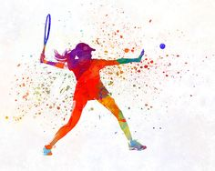 Woman tennis player 01 in watercolor - Fine Art Print Glicee Poster Home Watercolor sports Gift Room Illustration Wall - SKU 2318 Sport Volleyball, Sport Basketball, Sport Football, Boho Nursery, Nursery Prints, Tennis Pictures, Sports Wallpapers, Sports Gifts, Sport Photography