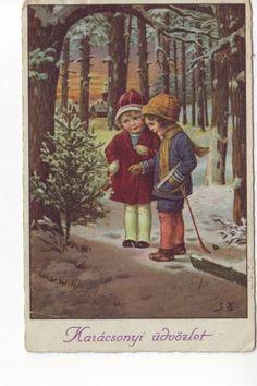 Boldog-Karacsonyt-1922 Christmas 2017, All Things Christmas, Vintage Christmas, Christmas Tree, Christmas Postcards, Christmas Greeting Cards, Christmas Greetings, Winter Snow, Vintage Postcards