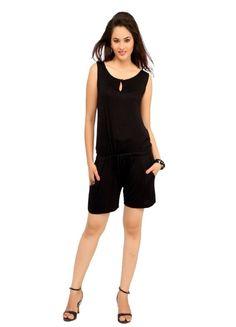 e9704d920f78 Cottinfab Women s Black Solid mini jumpsuit Black Colour front pockets