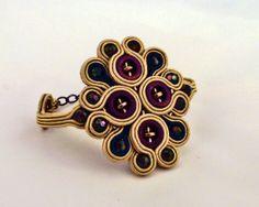 Soutache Bracelet cuff . Beaded bracelet. Golden by MollyGDesigns, £25.00