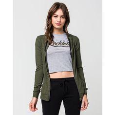 Full Tilt Marled Womens Zip Hoodie ($25) ❤ liked on Polyvore featuring tops, hoodies, olive, long hoodie, zipper hoodie, long zipper hoodie, hooded zip sweatshirt and raglan hoodie