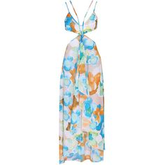 Spaghetti Strap Cutout Printed Chiffon Maxi Dress (145 RON) ❤ liked on Polyvore featuring dresses, summer beach dresses, cutout maxi dresses, blue beach dress, blue summer dress and cut out maxi dress