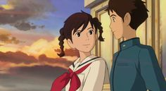 Studio ghibli,from up on poppy hill,hayao miyazaki Hayao Miyazaki, Studio Ghibli Art, Studio Ghibli Movies, My Neighbour Totoro, Up On Poppy Hill, Japanese Animated Movies, Castle In The Sky, Arte Disney, Howls Moving Castle